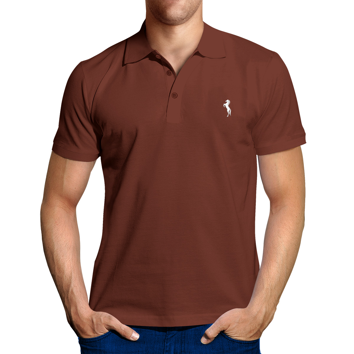 Enharid classic polo shirt for men brown enharid for Black brown mens shirts