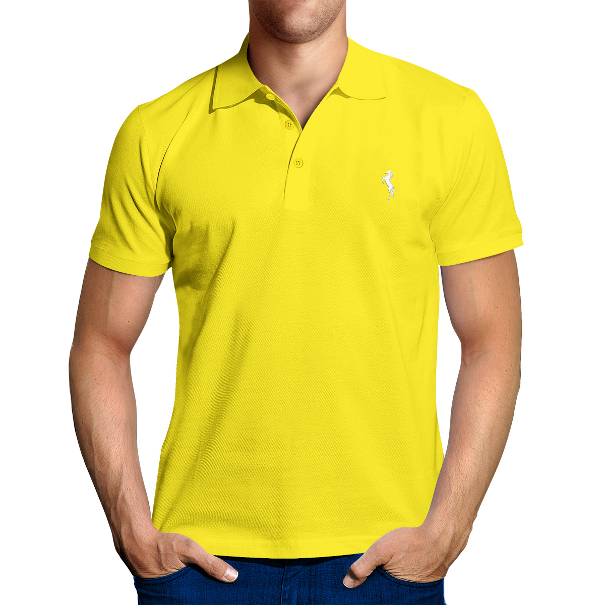 Enharid Classic Polo Shirt For Men Yellow Enharid