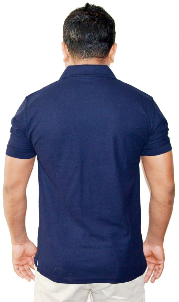 Enharid short sleeve polo shirt for men navy enharid for Short sleeved shirts for men